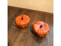 STAUB Ceramic 2-piece, Pumpkin Cocotte Set Burnt Orange, 0.75 qt.