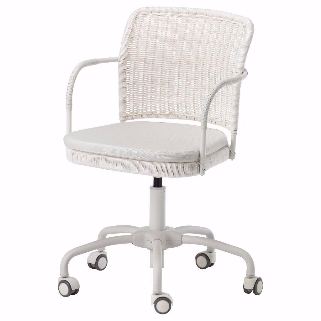 Ikea White Wicker Swivel Office Chair Gregor