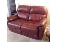 2 Genuine Leather DFS Recliner Sofas 1 electric and 1 manual
