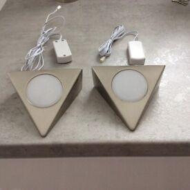 Matte polished stainless steel under cupboard lights