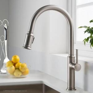 Kraus KPF-1680SFS Sellette Single Handle Pull Down Kitchen Faucet with Dual Function Sprayhead, Stainless Steel NEW