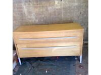 LARGE IKEA BEECH EFFECT CHEST OF DRAWERS