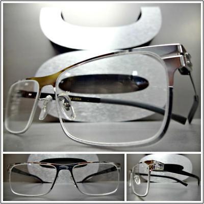 Mens CLASSY SOPHISTICATED Clear Lens EYE GLASSES Rectangular Silver Chrome Frame