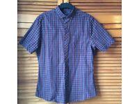 Mens Medium Slim Fit Burgundy and Blue Check Short Sleeved Shirt