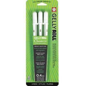 Sakura Gelly Roll Pen - Medium Point Gel Ink Pen - 3 PC Set - White 37488