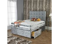 new crush velvet divan bed is available cash on delivery