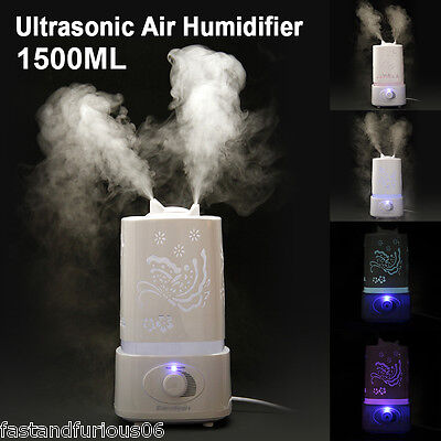 1.5L Ultrasonic Air Humidifier Air Mist Diffuser Purifier Aroma Nebulizer LED
