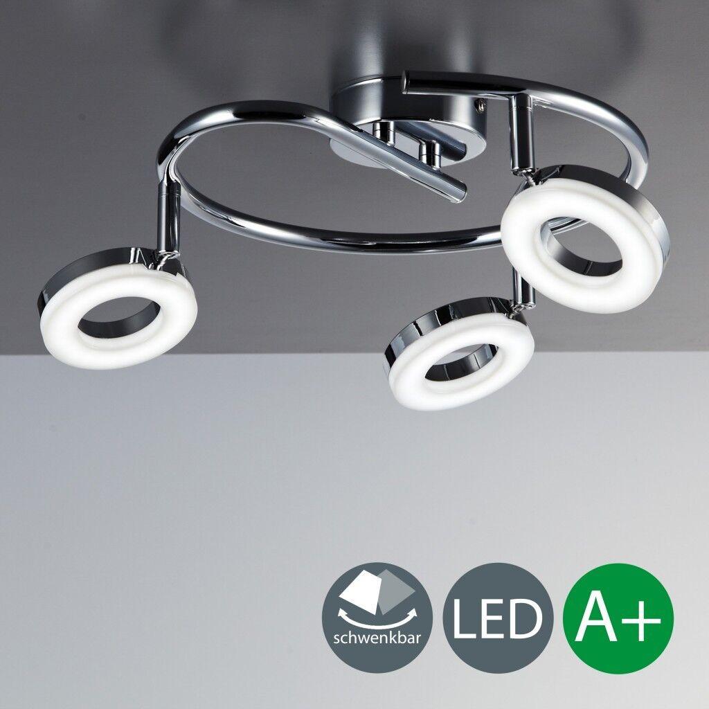 LED Decken Leuchte Chrom Modern Lampe Wohnzimmer Spot Strahler Drehbar 3 Flammig