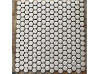 5 x sheets white gloss penny mosaic floor tiles