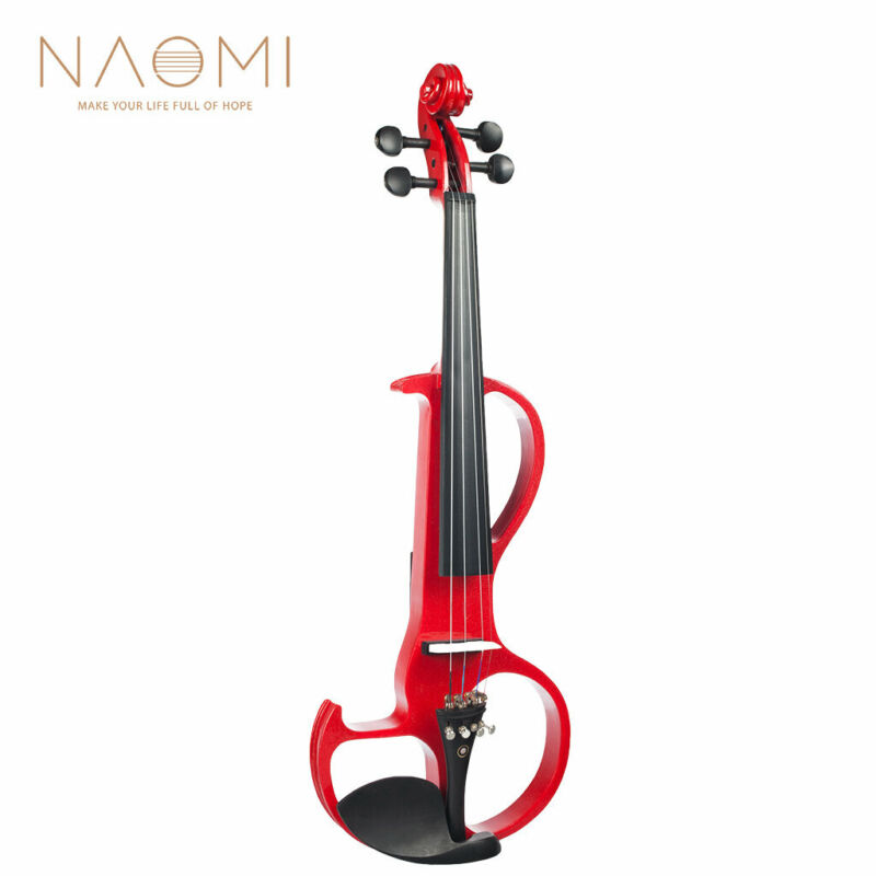 NAOMI Electric Violin 4/4 Violin Electric Violin Hard Case+ Cable +Headphone Red