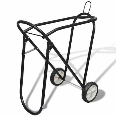 vidaXL Saddle Stand w/ Wheels Steel Rolling Tack Rack Yard Stable Storage ()