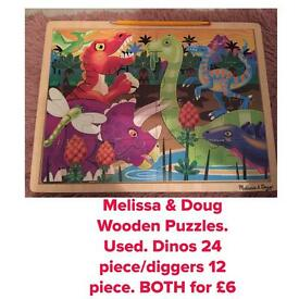 2 x Melissa and Doug wooden puzzles