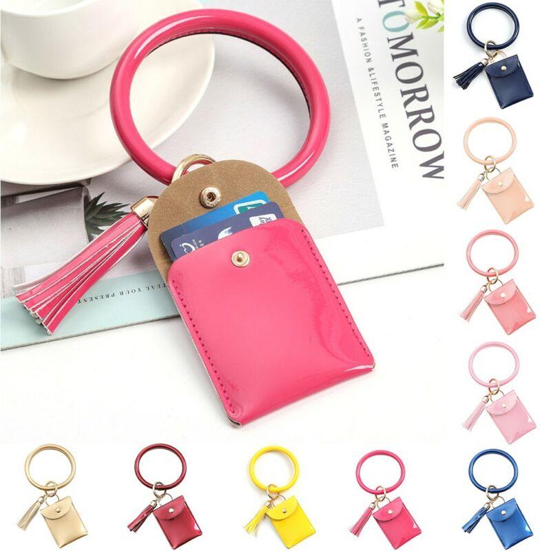 Large Bracelet Keychain Card Holder Tassel Bangle Key Ring W