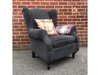 NEXT Sherlock Wingback Armchair Chair Grey RRP £500 Wood Feet
