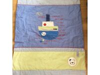 Mama's and Papa's Cot/bed throw. Hand stitched boat/sea theme, with beautiful gingham background.