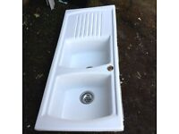 White ceramic double sink with single drainer, really good condition
