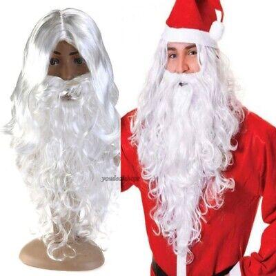 Bearded Woman Costume (Adult Mens Santa Wig & Beard Set Father Christmas Fancy Dress Costume)