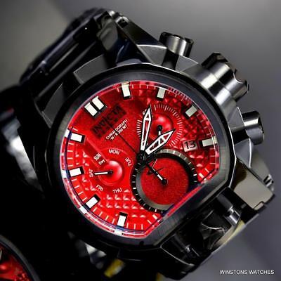 Invicta Reserve Bolt Zeus Magnum Black Steel 52mm Dual Red Dials Watch New