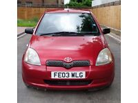 2003 Yaris, Colour collection, 5 doors, FSH, HPi clear,