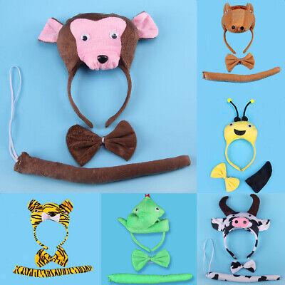 Birthday Girl Boy Kids Cartoon Bear Bee Monkey Costume Set Headband Bowtie Tail