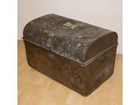 Large Vintage Metal Chest Storage Box Trunk