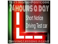 Driving test car hire - Short notice instructor emergency last minute book rent hire last minute