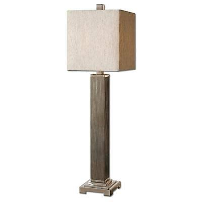 Luxe RUSTIC GRAY WOOD Contemporary Table Lamp Slim Square Silver Modern Buffet ()