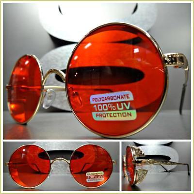 Klassisch Retro-Stil Sonnenbrille Rund Blinder Gold Metallrahmen Rotes Glas