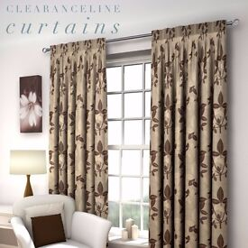 """A pair of 46"""" x 54"""" luxury lined eyelet curtains in a Natural leaf pattern"""