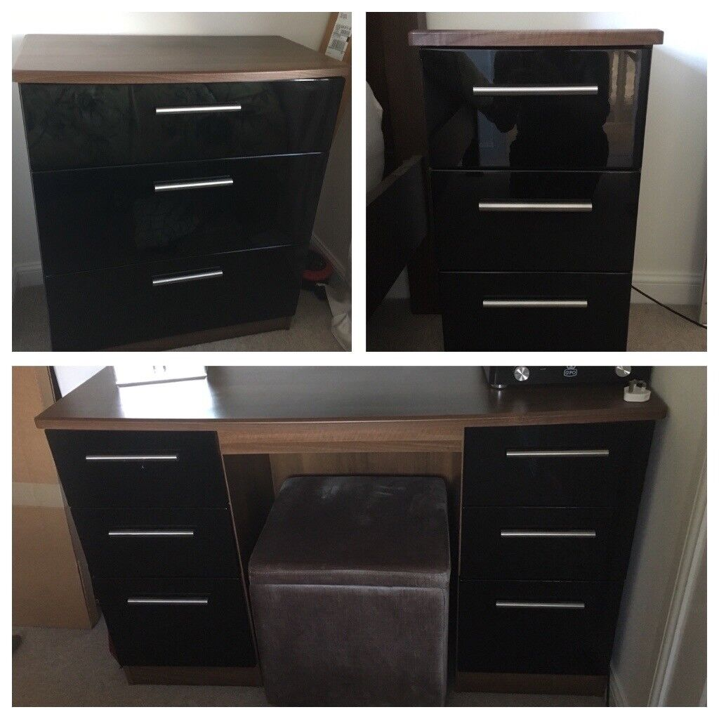 Bedroom Furniture Dressing Table And Two Chests Of Drawers Walnut Black Gloss In York