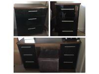 Bedroom Furniture. Dressing table, x2 drawers. Walnut & black gloss.