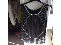 Ladies Biba black and gold evening top - size 16