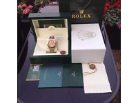 Complete box set two tone bracelet with gold face rolex daytona with sweeping movement the complete