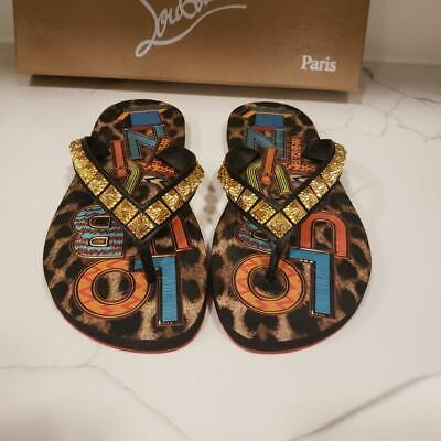 Christian Louboutin MONTEZAZOU Loubi Leopard Flip Flop Flat Sandals Shoes 375