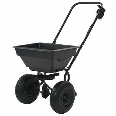 Walk Behind Salt Spreader 92x46x70cm 15L Lawn Fertiliser Gritter Wagon Black