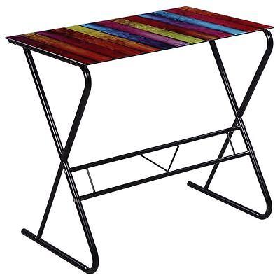 Computer Desk Rainbow Modern Stylish Glass Table Home Office Study Furniture