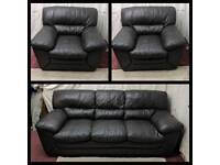 Brown leather 3/1/1 seater sofas good condition