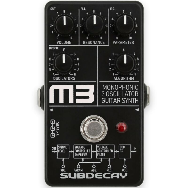 Subdecay M3 Monophonic 3 Oscillator Guitar Synth Pedal
