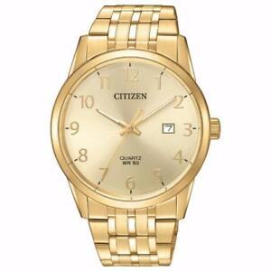 Citizen BI5002-57Q Mens Gold Tone Arabic Gold Dial Analog Quartz Watch