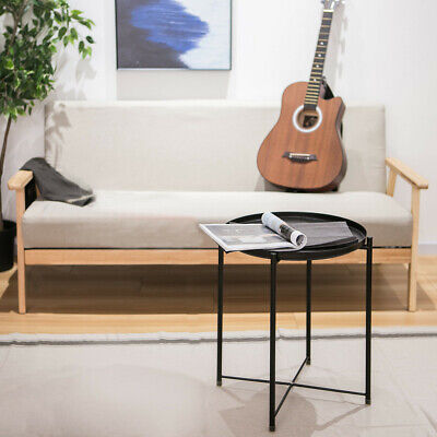 Tray Metal End Table, Sofa Table Small Round Side Tables,Anti-Rusty ()