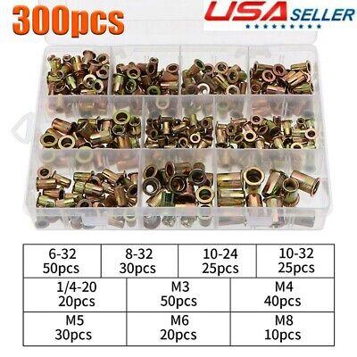 300pcs Zinc Steel Rivet Nut Kit Rivnut Nutsert Assortment Open End Threaded Us