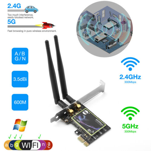 Wireless Dual Band 2.4G/5G PCIE WiFi Adapter Network Card for Desktop Computer