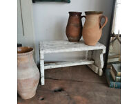 Shabby Chippy White Milking Stool for Side Table, Display Decor, Rustic Farmhouse Seating
