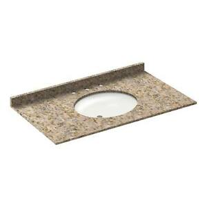 43 in granite vanity tops with sink 8 in spread wheat pickup only