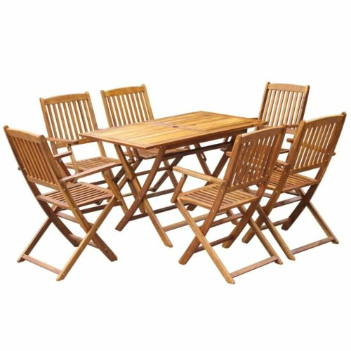 Garden Furniture - Outdoor Dining Table And Chairs Set Wood 6-Seater Patio Garden Folding Furniture