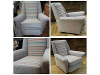 Fully re-upholstered armchair