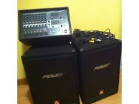 PA - Speakers, Amp, Mic, 2 Mic Stands, Cables