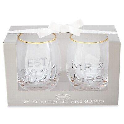 Mud Pie E0 Hogar Boda 473ml Mr.& Mrs. Relieve Copa de Vino...