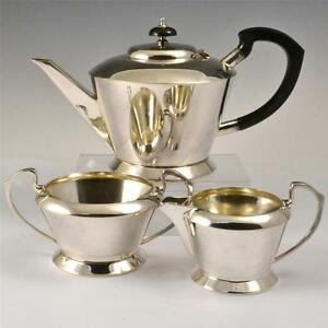 SILVER PLATED ART DECO TEA SET SERVICE TEAPOT  JUG & BOWL