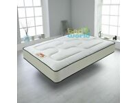 CREAM QUILTED SPRUNG MATTRESS 3FT 4FT'6 5FT MEMORY FOAM TOPPED MATTRESS DOUBLE